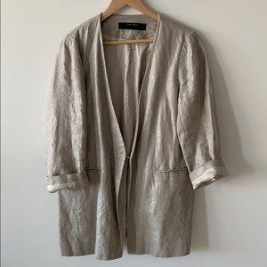 Zara metallic linen blazer